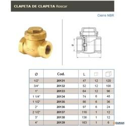 Válvulas de retención de latón de Clapeta H-H