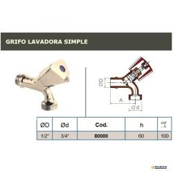 "Grifo lavadora simple 1/2""X3/4"" cromado"