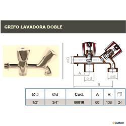 "Grifo lavadora doble 1/2""X3/4""X3/4"" cromado"