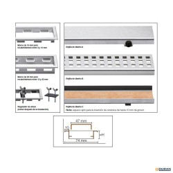 Rejilla de diseño Kerdi-Line-A de Schlüter de 80cm 19mm inox