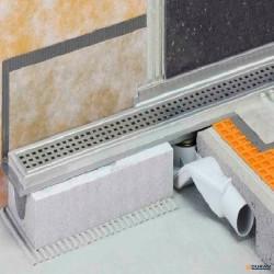 Set canaleta de desagüe con impermeabilización de Schlüter KLF-40GE-90 inox