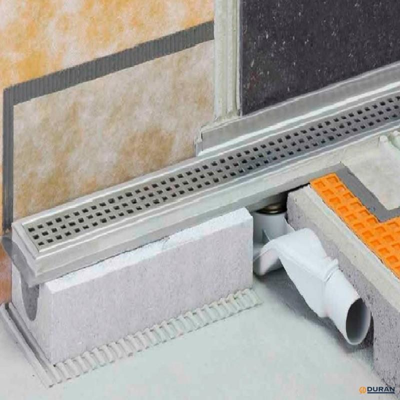Set canaleta de desagüe con impermeabilización de Schlüter KLF-40GE-60 inox